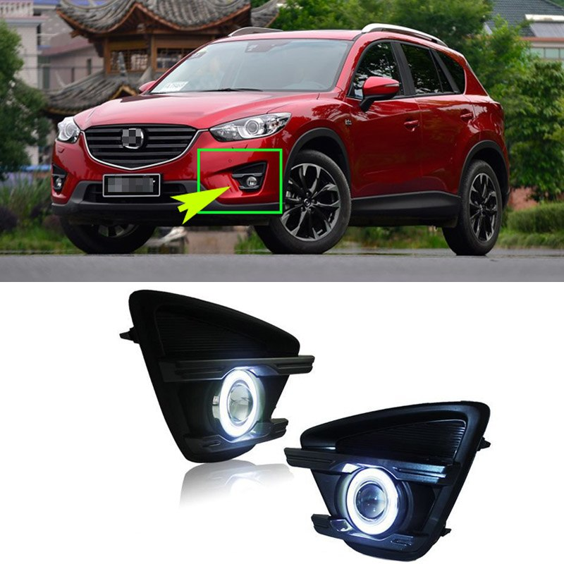 Daytime Running Angel Eyes Fog Lights For Mazda CX-5 2013 2014 2015 - Any Car Accessories