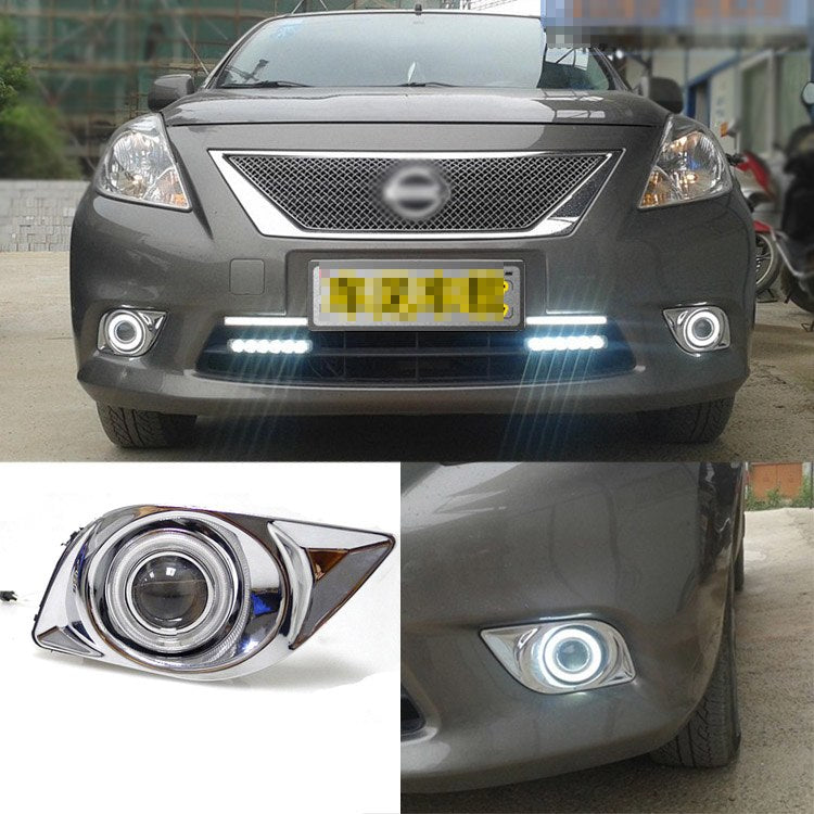 Daytime Running Angel Eye Fog Lights For Nissan Sunny 2011-2012 - Any Car Accessories