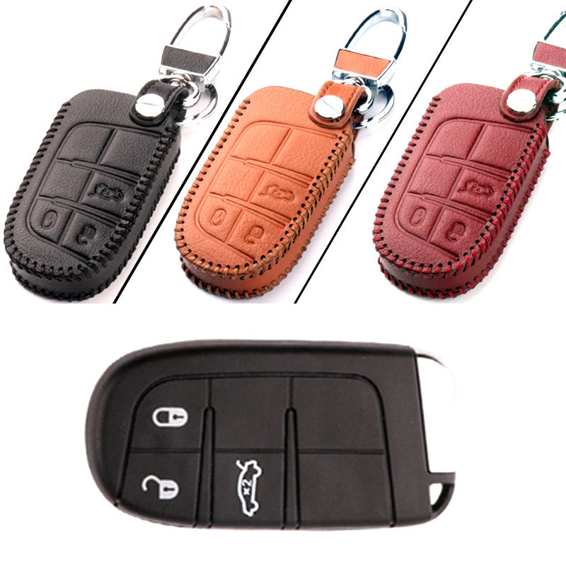 Leather Remote Key Cover For Jeep Dodge JCUV B,  - Any Car Accessories