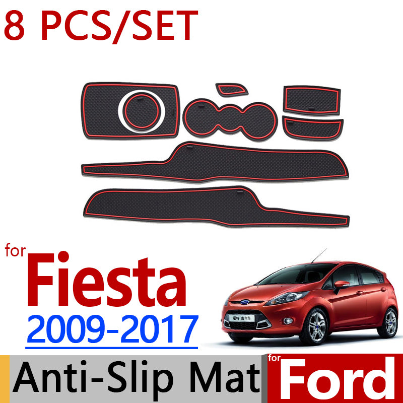 Anti-Slip Rubber Door Mat For Ford Fiesta 2009-2017  MK6 MK7 2010 2013 2014 2015,  - Any Car Accessories