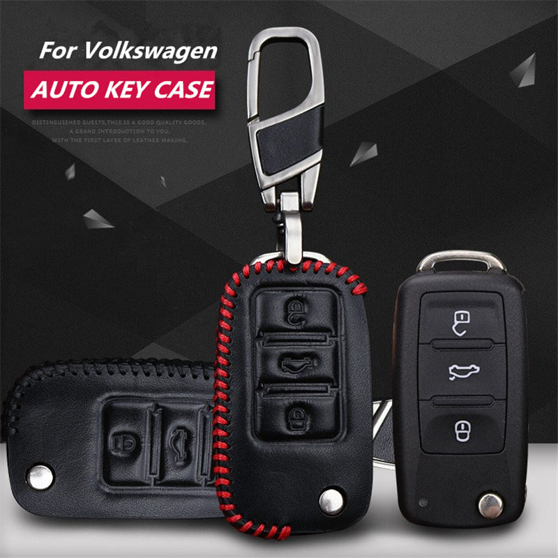 Lether Key Remote Cover For Volkswagen VW Polo, Passat, Tiguan, Touareg, Jetta,  - Any Car Accessories