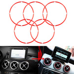 Mercedes/Benz CLA GLA180 200 220 5Pcs Red Air Vent Outlet Ring Cover Trims, Interior - Any Car Accessories