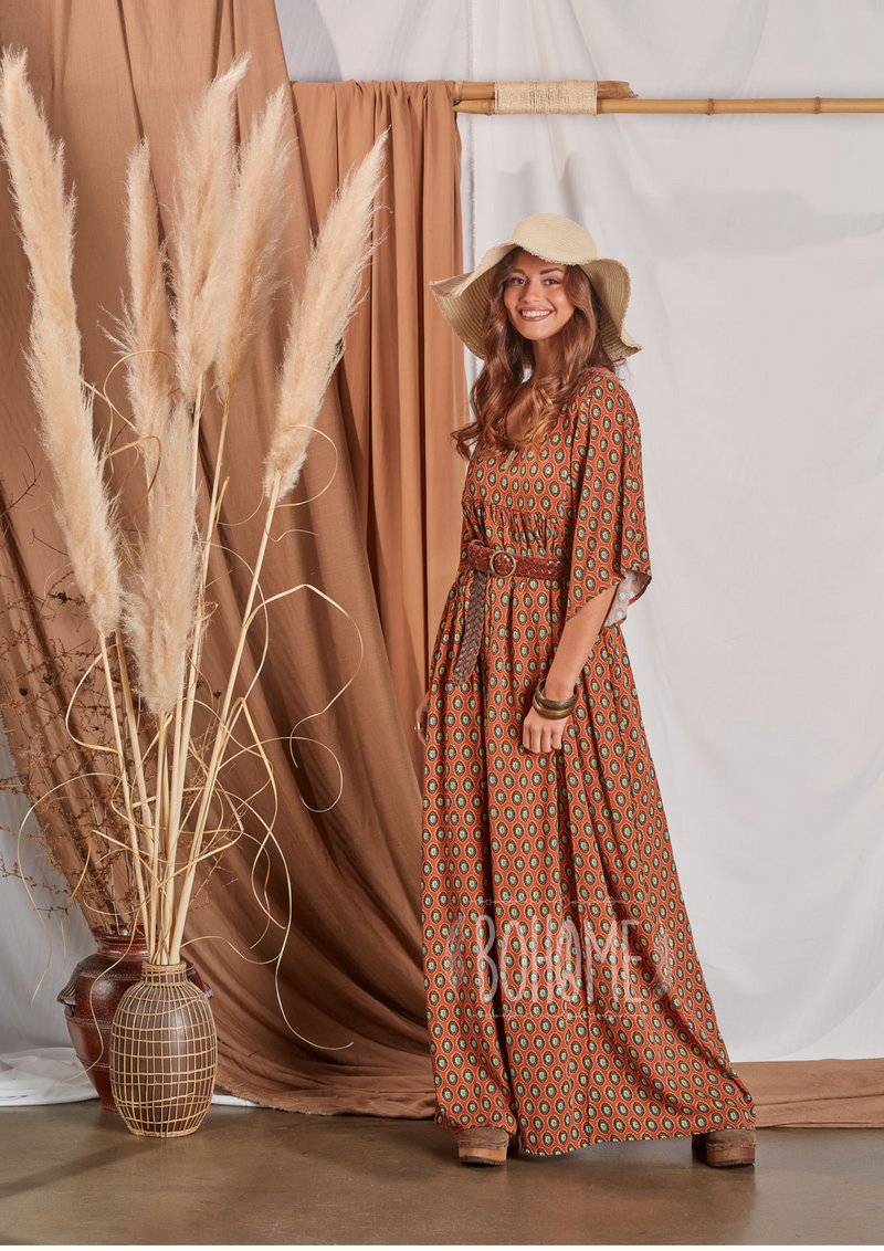 Long dress with ethnic print