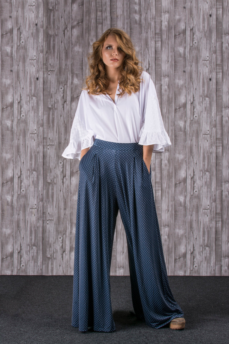 Ball print mesh trousers