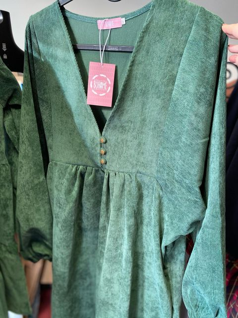 Bombazine dress with CCWT19 buttons