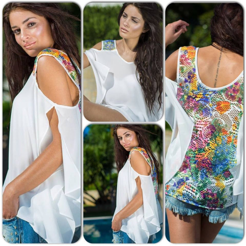 Blouse with colorful lace