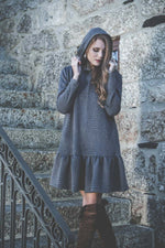 Jacquard frilled hooded dress