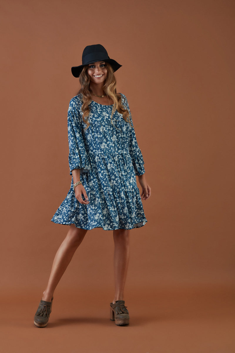 Knitted dress with floral print
