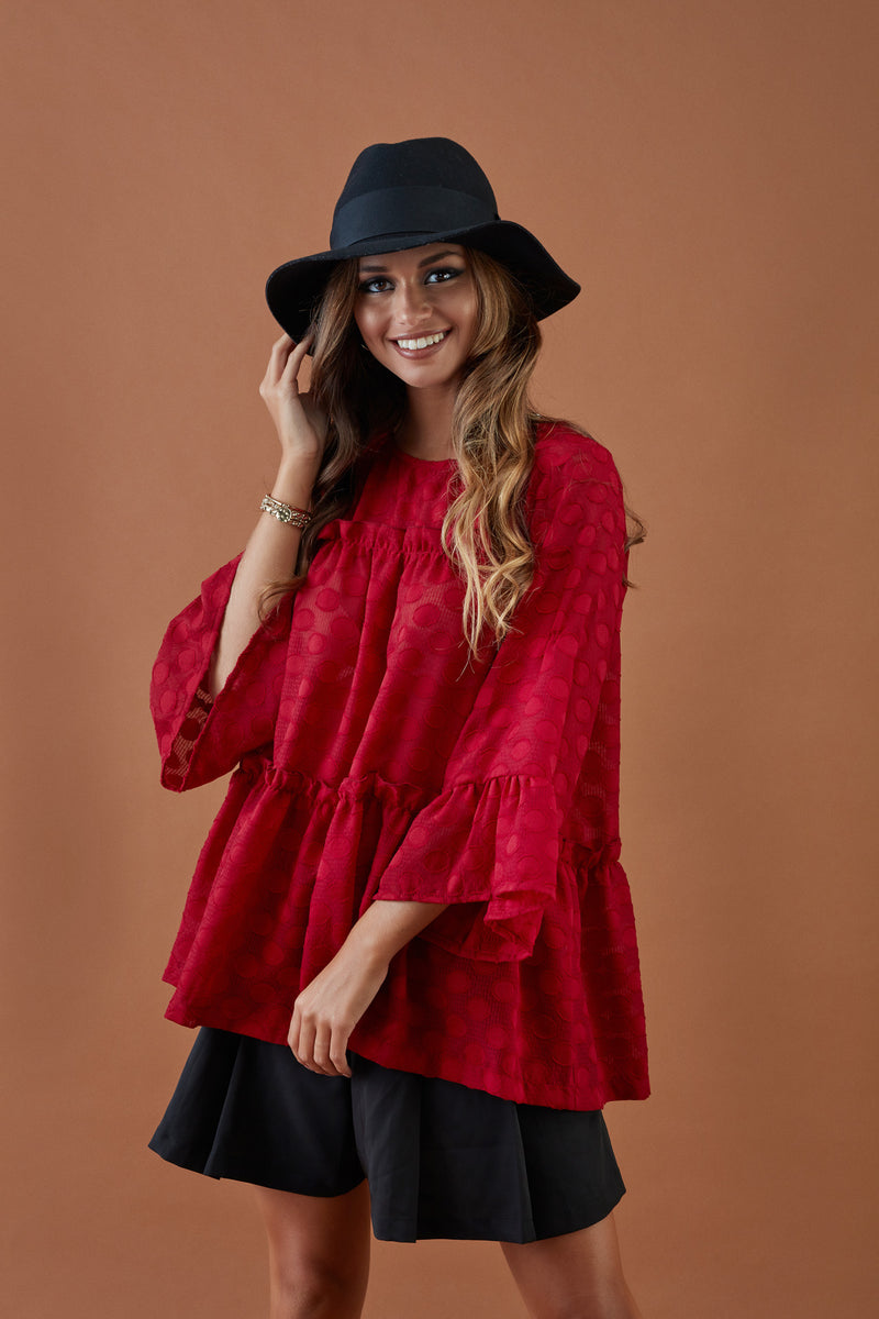 Blouse with frills