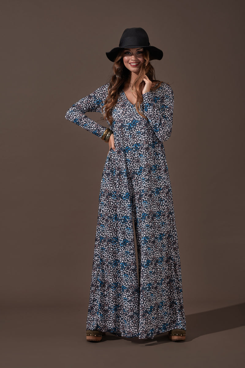 Long knitted jumpsuit with wide sleeve Natal20
