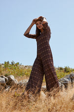 Long ethnic print jumpsuit