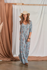 Long jumpsuit in mesh with 3/4 sleeve