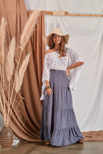 Long skirt with frills