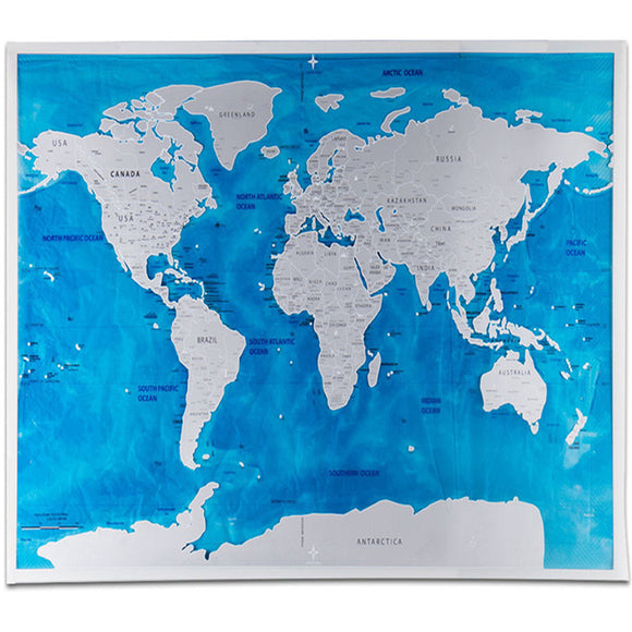 Carte monde à gratter scratch couleur PVC deluxe world map - fairesavalise