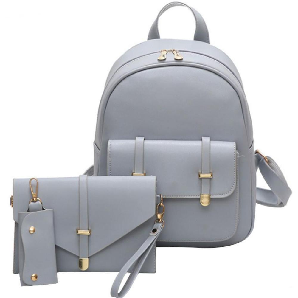 Bags-Gray-Vegan Leather 3 Piece Backpack Set by Mojoyce for a Woman's Vegan Lifestyle-VeganSnatched.com