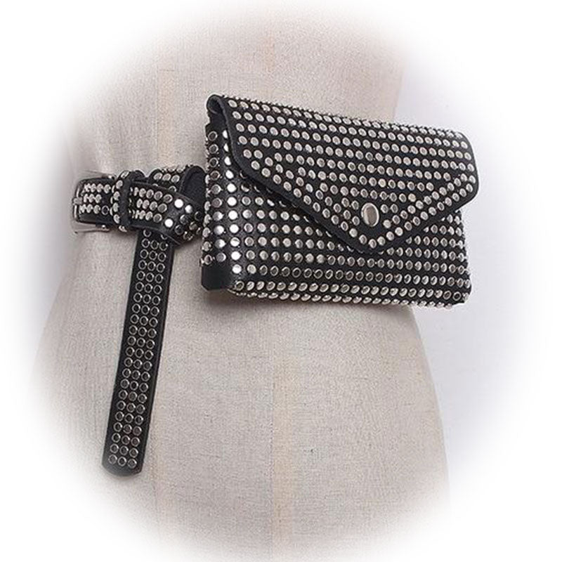 Bags-Vegan Leather Waist Pack with Rivets by Diinovivo for a Woman's Vegan Lifestyle-VeganSnatched.com