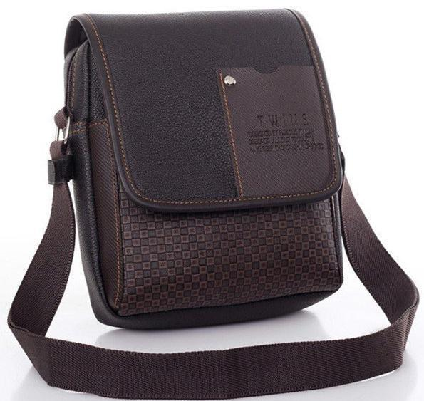 Bags-brown-Vegan Leather Crossbody Bag by Twins for a Man's Vegan Lifestyle-VeganSnatched.com