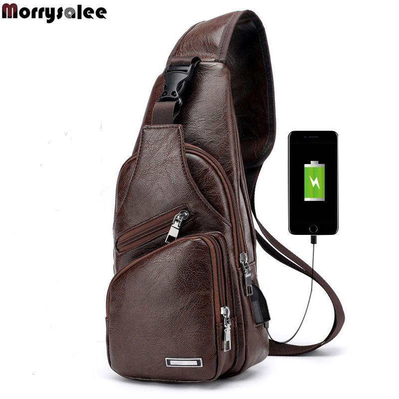 Bags-Brown-Vegan Leather USB Crossbody Bag by Morrysalee for a Man's Vegan Lifestyle-VeganSnatched.com