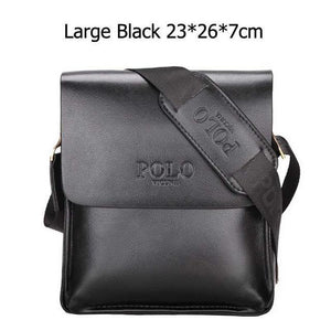 Bags-Large Black-Vegan Leather Vintage Crossbody Messenger Bag by Polo Vicuna for a Man's Vegan Lifestyle-VeganSnatched.com