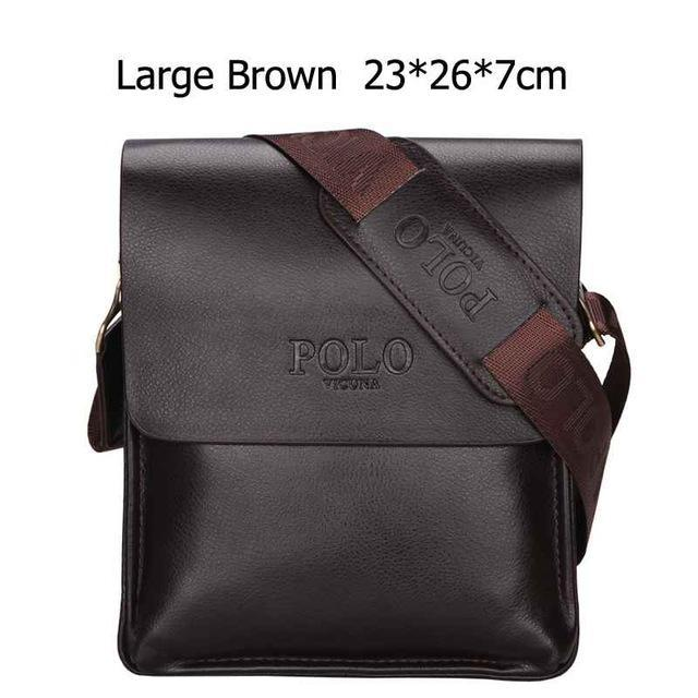 Bags-Large Brown-Vegan Leather Vintage Crossbody Messenger Bag by Polo Vicuna for a Man's Vegan Lifestyle-VeganSnatched.com
