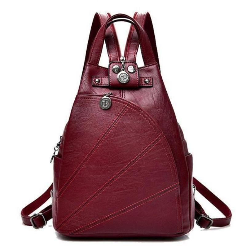 Bags-Red-PU Leather Backpack for a Woman's Vegan Lifestyle