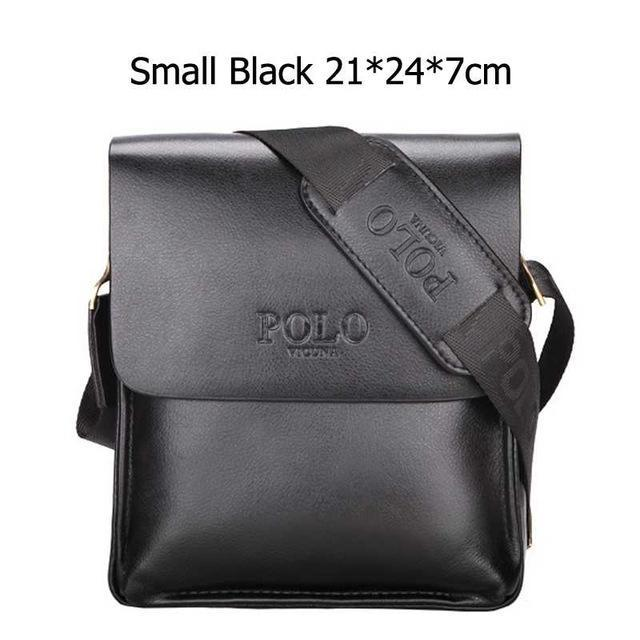 Bags-Small Black-Vegan Leather Vintage Crossbody Messenger Bag by Polo Vicuna for a Man's Vegan Lifestyle-VeganSnatched.com