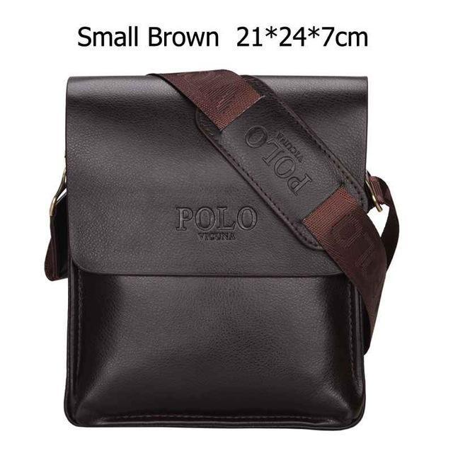 Bags-Small Brown-Vegan Leather Vintage Crossbody Messenger Bag by Polo Vicuna for a Man's Vegan Lifestyle-VeganSnatched.com