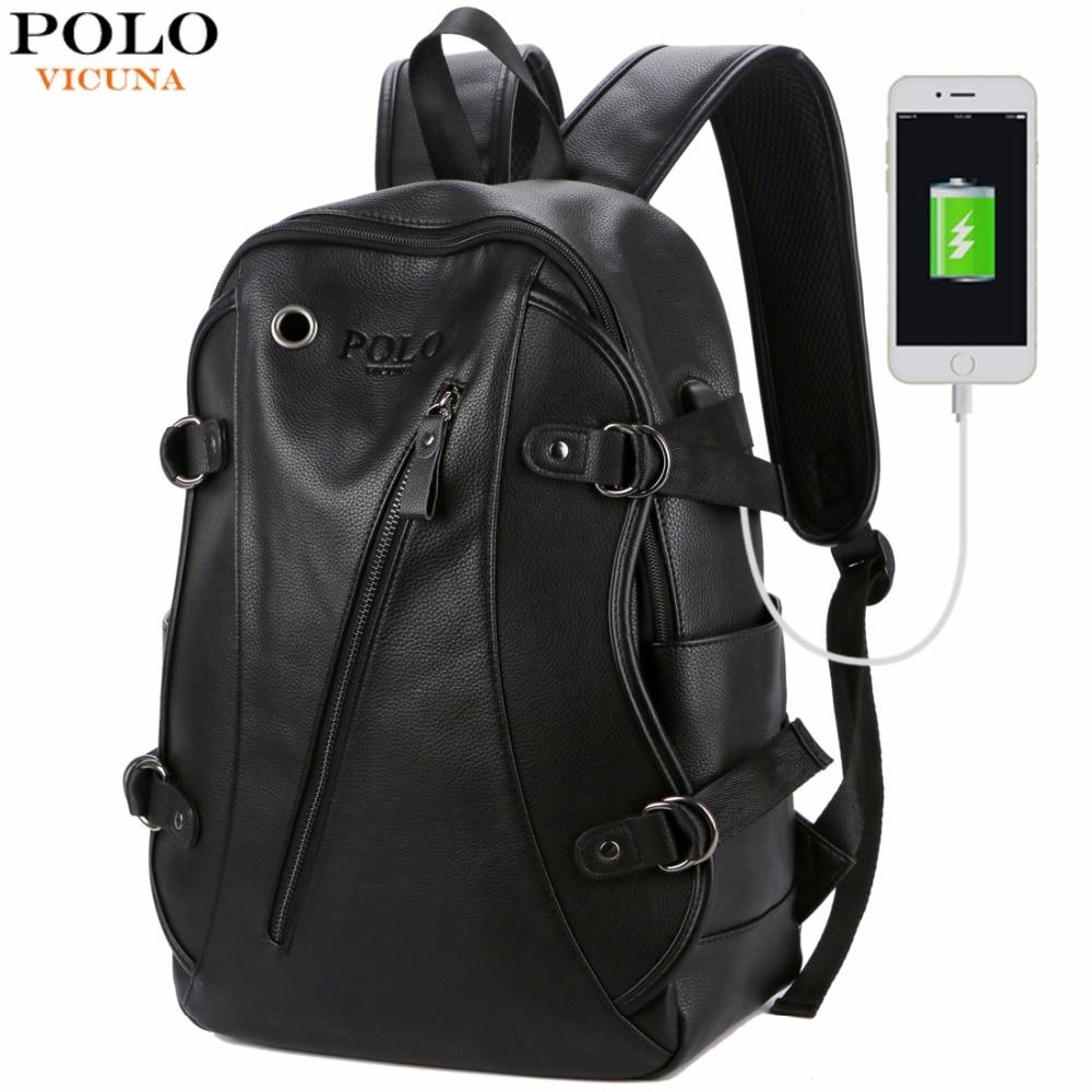 Bags-Vegan Leather Backpack with USB and Headphone Hole by Polo Vicuna-VeganSnatched.com