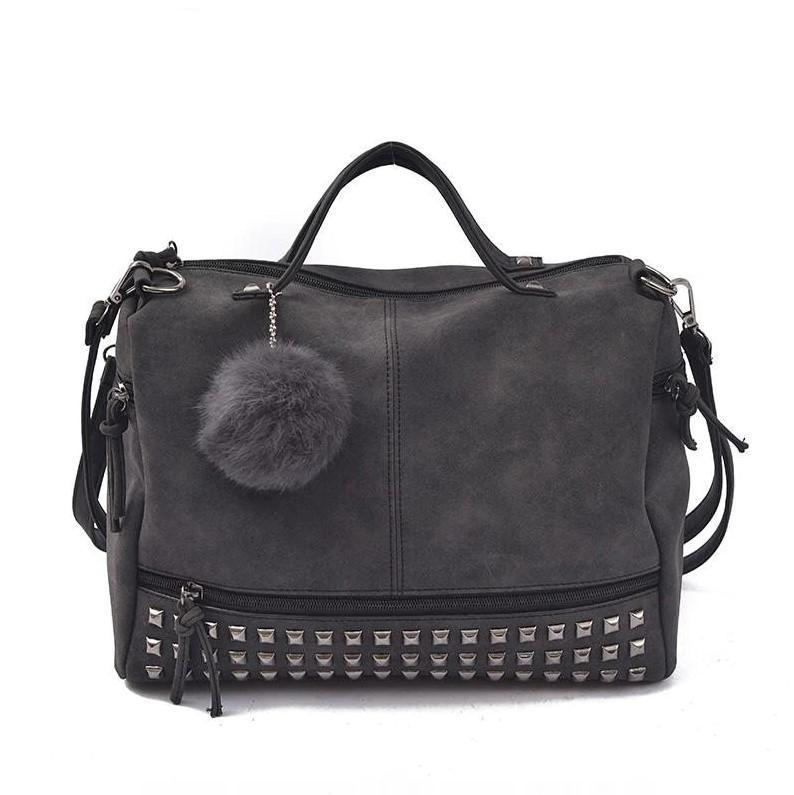 Bags-Vegan Leather Faux Velvet Tassel Studded Handbag for a Woman's Vegan Lifestyle-VeganSnatched.com