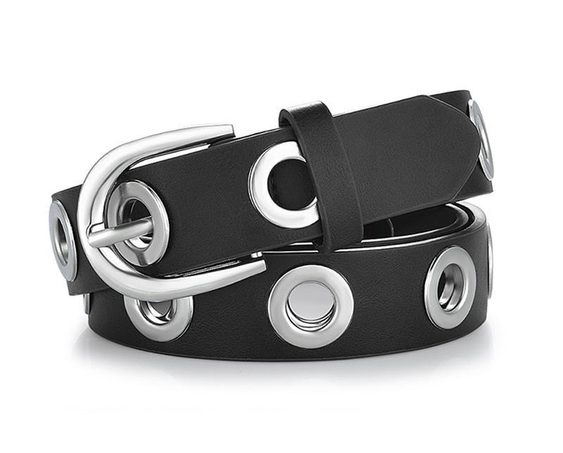 Belts-black-100cm-PU Leather Silver Grommet Belt by Goowail for a Woman's Vegan Lifestyle