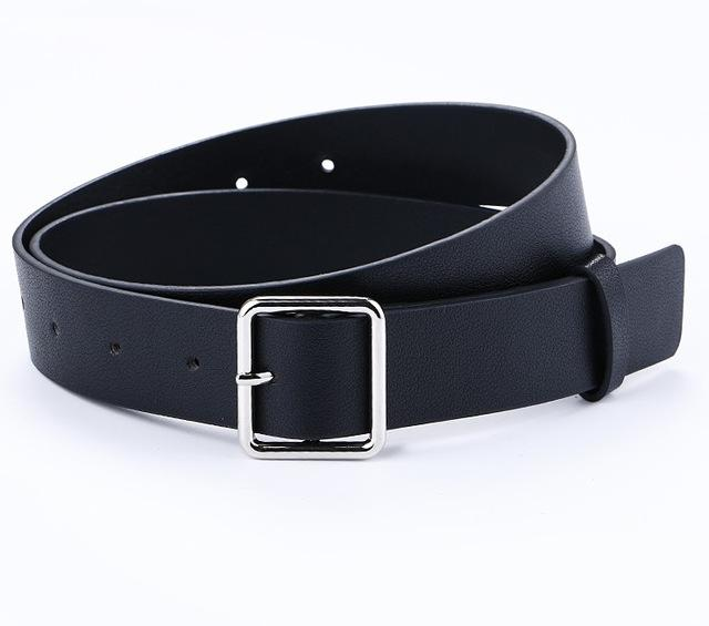 Belts-Black-39 inches / 100 cm-PU Leather Square Pin Silver Buckles Belt for a Woman's Vegan Lifestyle