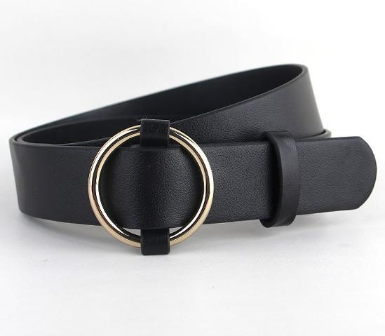 Belts-Black-41 inches / 105 cm-PU Leather Ring Pinless Metal Buckle Belt for a Woman's Vegan Lifestyle