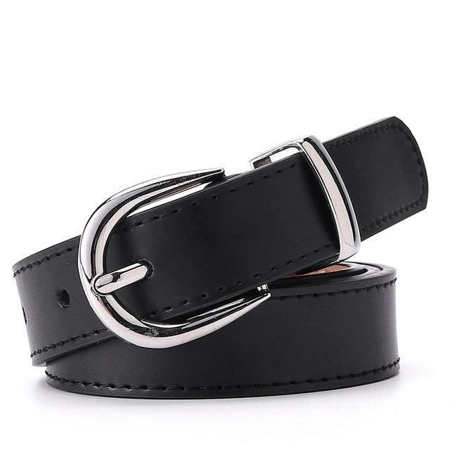 Belts-Black-a-PU Leather Silver Buckle Belt for a Woman's Vegan Lifestyle