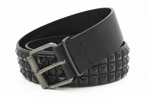 Belts-Black-a-PU Leather Studded Rivet Belt with Pin for a Vegan Lifestyle
