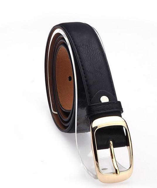 Belts-Black-PU Leather Metal Buckle Straps Belt for a Woman's Vegan Lifestyle