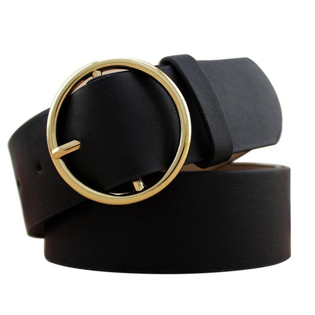 Belts-black-PU Leather Round Gold Buckle & Pin Belt for a Woman's Vegan Lifestyle