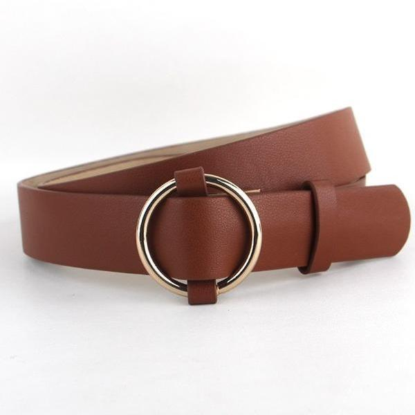 Belts-Brown-39 inches / 100 cm-PU Leather Gold/Silver Ring Pin Buckles Belt for a Woman's Vegan Lifestyle