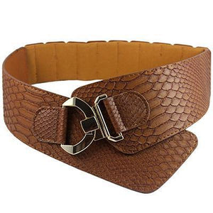 Belts-Brown-PU Leather Wide Elastic Cinch Belt with Gold Metal Rivet for a Woman's Vegan Lifestyle