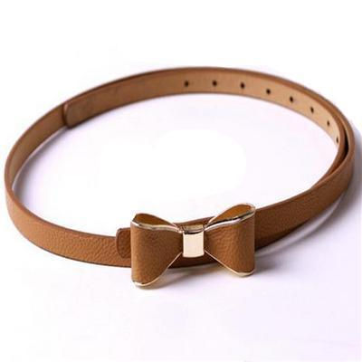 Belts-Camel-40 inches / 102 cm-PU Leather Narrow Bowknot Snap-Fastener Belt for a Woman's Vegan Lifestyle