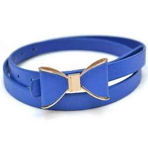 Belts-Dark Blue-40 inches / 102 cm-PU Leather Narrow Bowknot Snap-Fastener Belt for a Woman's Vegan Lifestyle