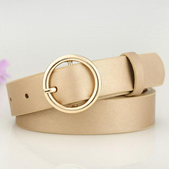 Belts-Gold-39-41 inches / 100-105 cm-PU Leather Round Metal Buckle & Pin Belt for a Woman's Vegan Lifestyle