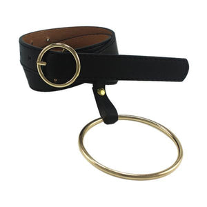 Belts-Gold buckle-PU Leather Large Metallic Gold/Silver Hoop Belt with Round Buckle for a Woman's Vegan Lifestyle