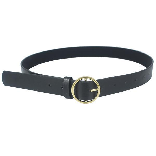 Belts-Gold buckle-PU Leather Metal Buckle Ring Belt for a Woman's Vegan Lifestyle