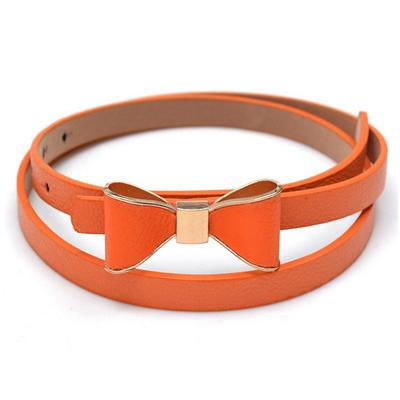 Belts-Orange-40 inches / 102 cm-PU Leather Narrow Bowknot Snap-Fastener Belt for a Woman's Vegan Lifestyle