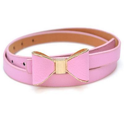 Belts-Pink-40 inches / 102 cm-PU Leather Narrow Bowknot Snap-Fastener Belt for a Woman's Vegan Lifestyle