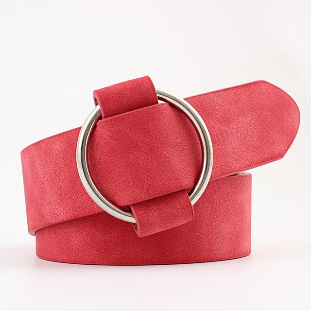 Belts-Red-39-41 inches / 100-105 cm-PU Leather Round Metal Buckle Belt for a Woman's Vegan Lifestyle