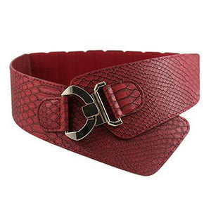 Belts-Red-PU Leather Wide Elastic Cinch Belt with Gold Metal Rivet for a Woman's Vegan Lifestyle