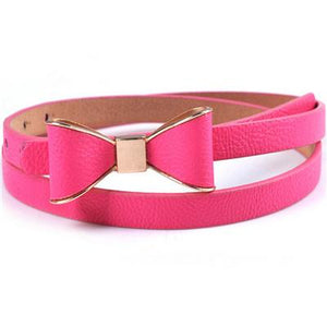 Belts-Rose-40 inches / 102 cm-PU Leather Narrow Bowknot Snap-Fastener Belt for a Woman's Vegan Lifestyle