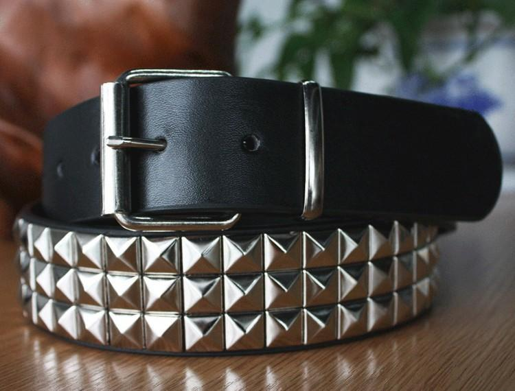 Belts-Silver-a-PU Leather Studded Rivet Belt with Pin for a Vegan Lifestyle