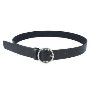 Belts-Silver buckle-PU Leather Metal Buckle Ring Belt for a Woman's Vegan Lifestyle